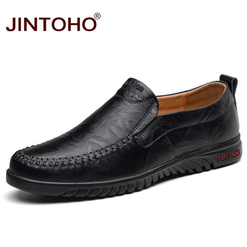 JINTOHO Slip On Men Genuine Leather Shoes Fashion Male Comfortable Shoe Brand Male Leather Shoes Casual Leather Shoes For Men