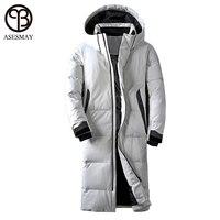 Asesmay брендовая одежда зимняя куртка для мужчин белый цвет утиный пух длинное пальто гусиное перо толстые повседневные парки толстовки мужс