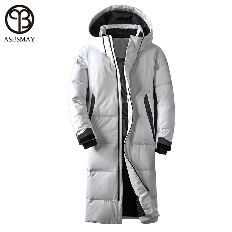Asesmay brand clothing winter jacket men white color duck down long coat goose feather thick casual