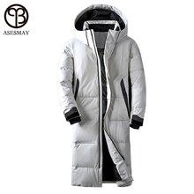 Asesmay брендовая одежда зимняя куртка мужская белого цвета утка вниз длинное пальто гусиный пух толстые случайные парки толстовки мужской Куртки