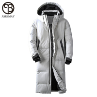 Asesmay brand clothing winter jacket men white color duck down long coat goose feather thick casual parkas hoodies male jackets