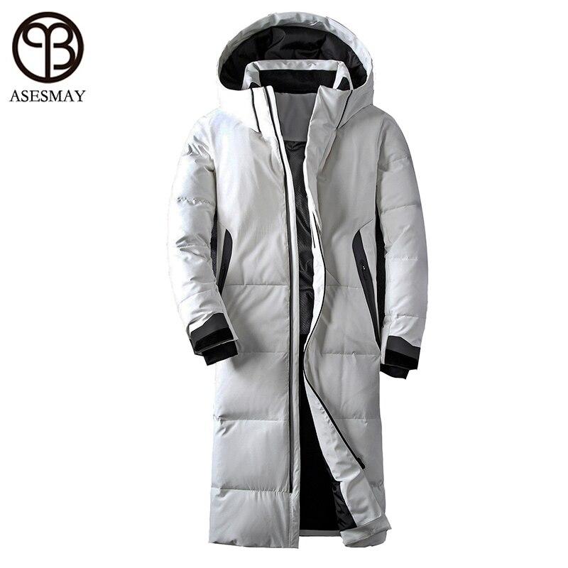 Asesmay marchio di abbigliamento rivestimento di inverno degli uomini di colore bianco anatra giù lungo cappotto piuma d'oca casuale di spessore parka con cappuccio giacche maschili
