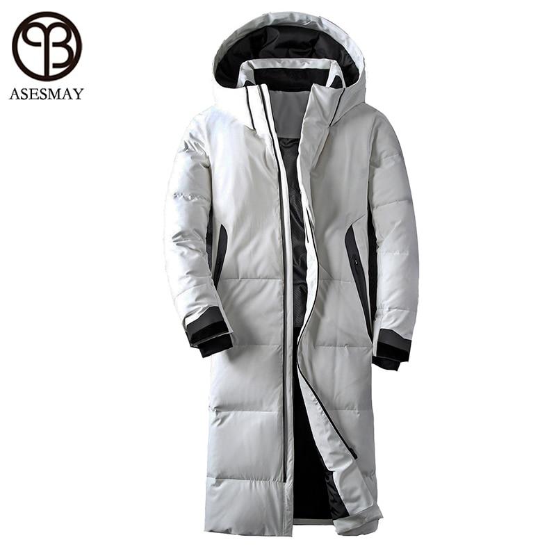 Asesmay roupas de marca homens jaqueta de inverno cor branca pato para baixo casaco longo casaco de penas de ganso grosso parkas hoodies jaquetas masculinas casuais
