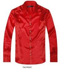2017 Red Luxury the groom shirt male long sleeve wedding shirt men's party Artificial silk dress shirt M-3XL 21 colors FZS14
