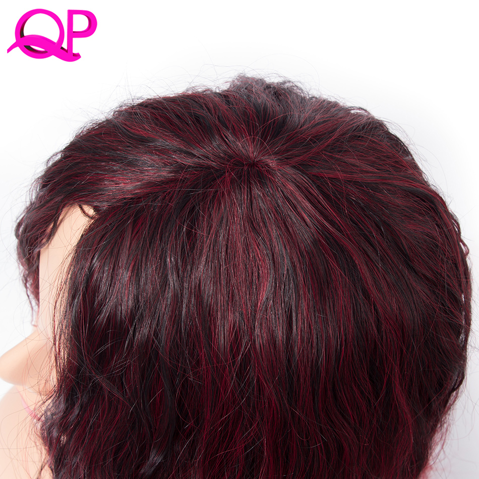 Qp Hair Afro Kinky Straight Kanekalon Wig African American Medium Length Wigs Blacke Ombre Red Cospaly synthetic Wig