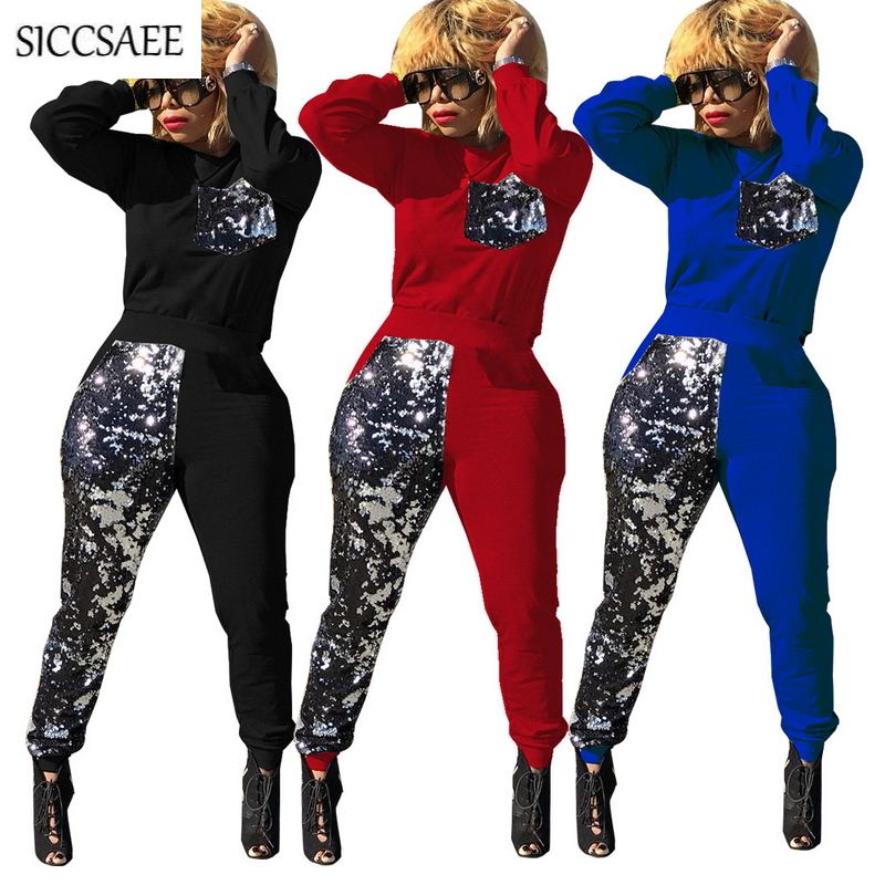 2019 New Sparkly Outfits Sequins Patchwork Two Piece Set Glitter Casual Sweat Suit Activewear Pockets Tracksuit For Women Spring