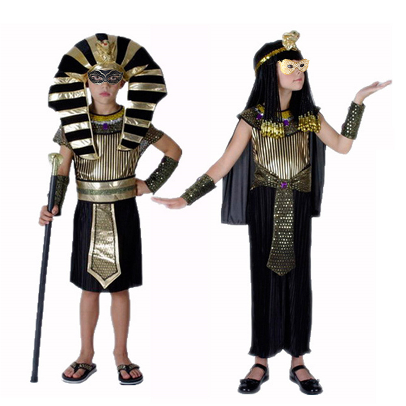 Halloween Costumes Boy Girl Ancient Egypt Egyptian Pharaoh Cleopatra Prince Princess Costume for Kid Party Holiday DIY Decor