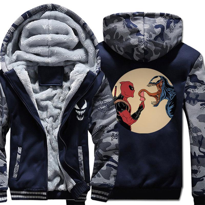 Для мужчин молнии с капюшоном Толстовка Веном зимние теплые Свитшот флисовый утепленный Повседневное чёрное худи пуловер 011 - 6