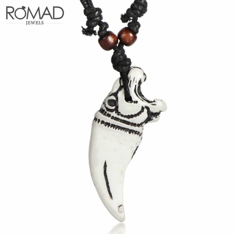 פאנק אמיץ גברים אופנה אפריקאי תכשיטי וולף שן ספייק תליון שרשרת לנשים גברים לאומי תכשיטי קמע תליון שרשרת