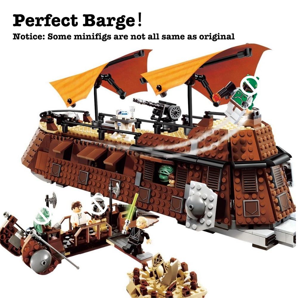 821 pz Fit Star Serie Wars 6210 La Vela di Jabba Chiatta Set Minifig Mini Figures Building Blocks Giocattoli per regali di Natale per bambini