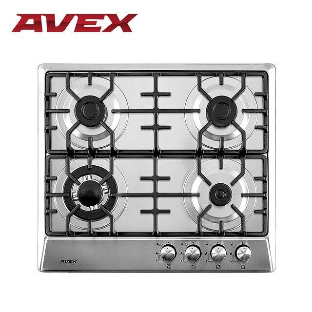 Встраиваемая варочная панель AVEX NS 6044 X, нержавеющая сталь, конфорка тройная корона, чугунные решетки