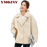 YMOJNV натуральный поярок гранул куртка Для женщин Зимняя парка женский Настоящее шубы письмо печать теплые короткие овец стриженая пальто