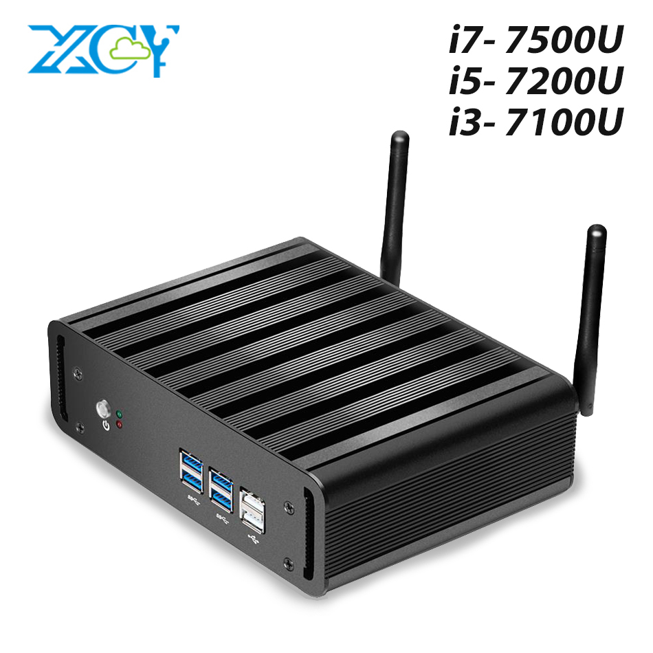 XCY Mini PC Core i7 7500U i5 7200U i3 7100U Windows 10 Compact Desktop PC 4K UHD HTPC HDMI 300M WiFi 6xUSB Micro ComputerMini PC   -