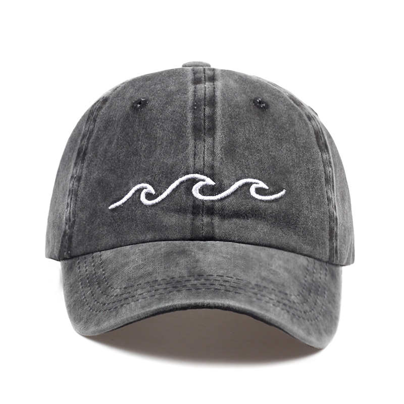 2017 hot sale Sea wave embroidery unisex baseball cap cotton adjustable fashion baseball hat women men outdoor casual caps