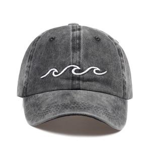 2017 hot sale Sea wave embroidery unisex baseball cap cotton adjustable fashion baseball hat women men outdoor casual caps(China)
