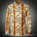 2016 Leopard Print Mens Shirts Gold Yellow 100% Cotton Slim FIt Social Shirts Mens Overhemd Heren Lange Mouw Autumn Dress Casual