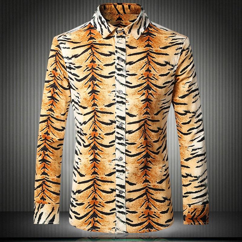 2017 Camisa Social Mens Leopard Print Shirts Gold Yellow Dress Casual Slim Fit Overhemd Club 3xl