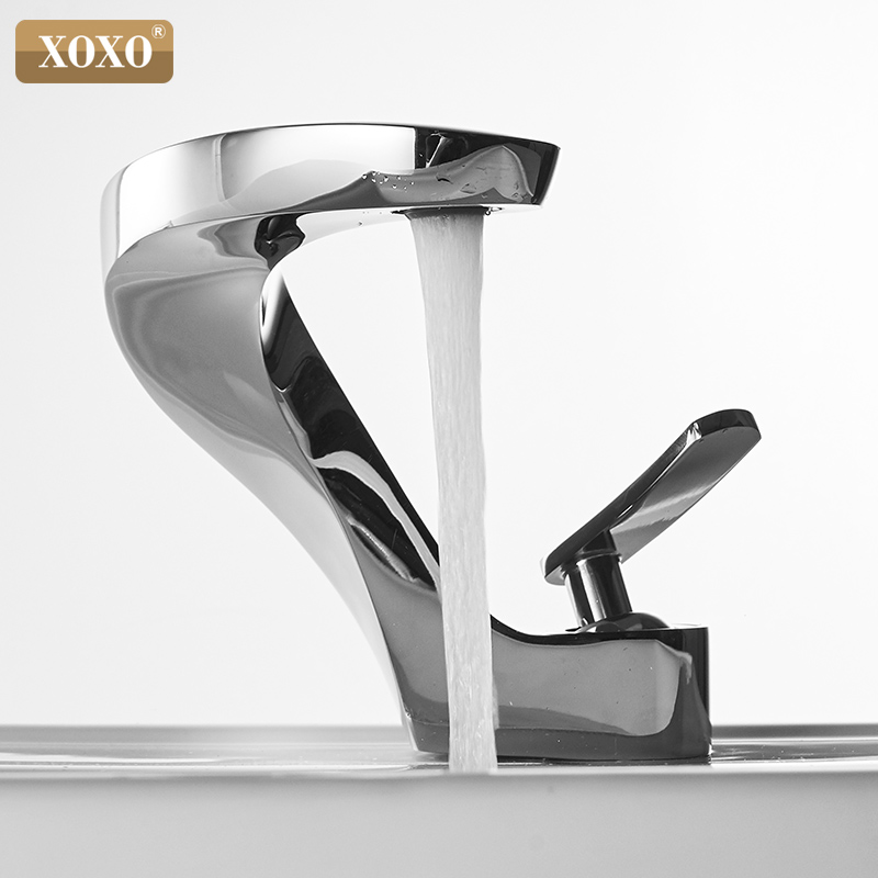 XOXO Basin Faucet Cold and Hot Waterfall Contemporary Chrome Brass Bathroom basin sink Mixer Deck Mounted