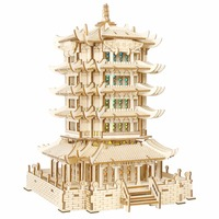 Yellow Crane Tower Bluetooth music atmosphere night light Kids toys 3D Puzzle Wooden Puzzle Educational toys for Children