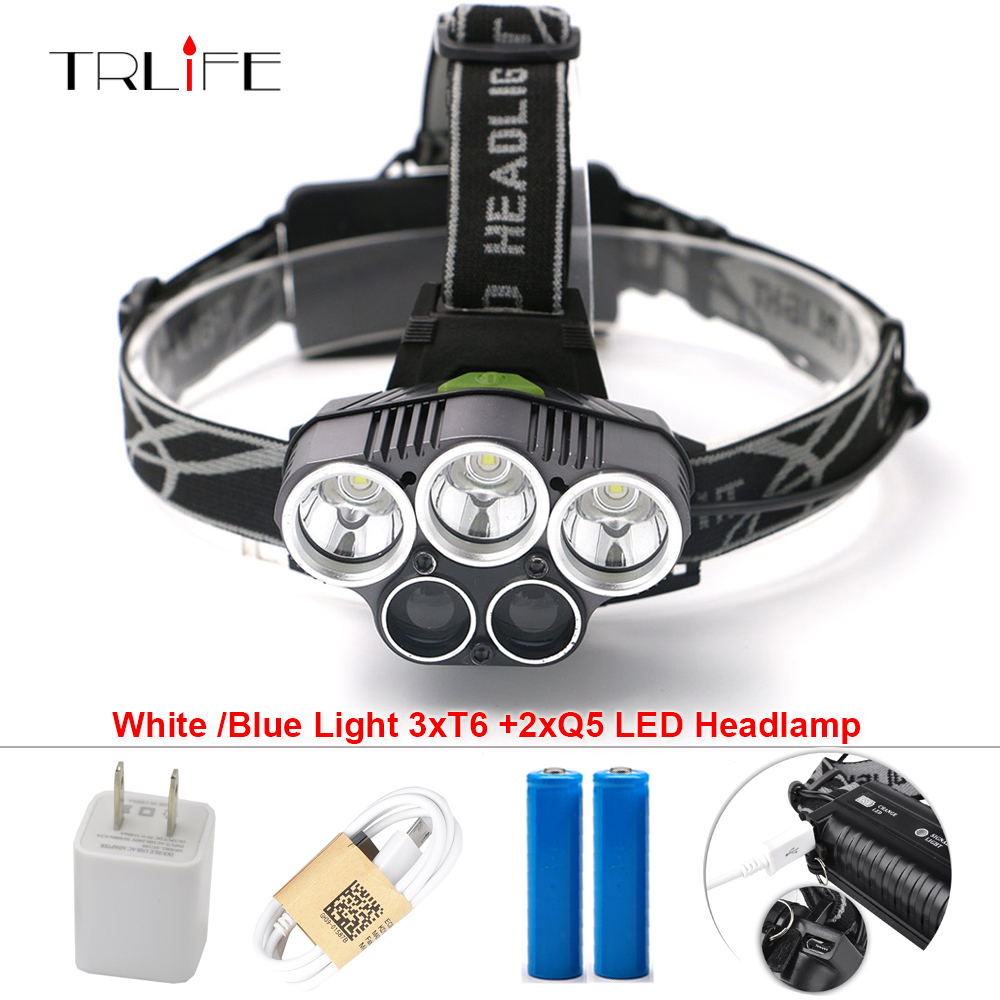 5 CREE LED Headlamp XM-L T6 Q5 Headlight 15000 Lumens Led Head Lamp Camp Hike Emergency Light Fishing Outdoor Equipment