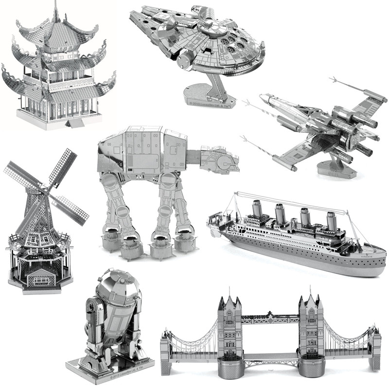 100 UNIDS 3D Puzzles De Metal Dos Hoja de Acero Inoxidable Puzzle Estrella Wars