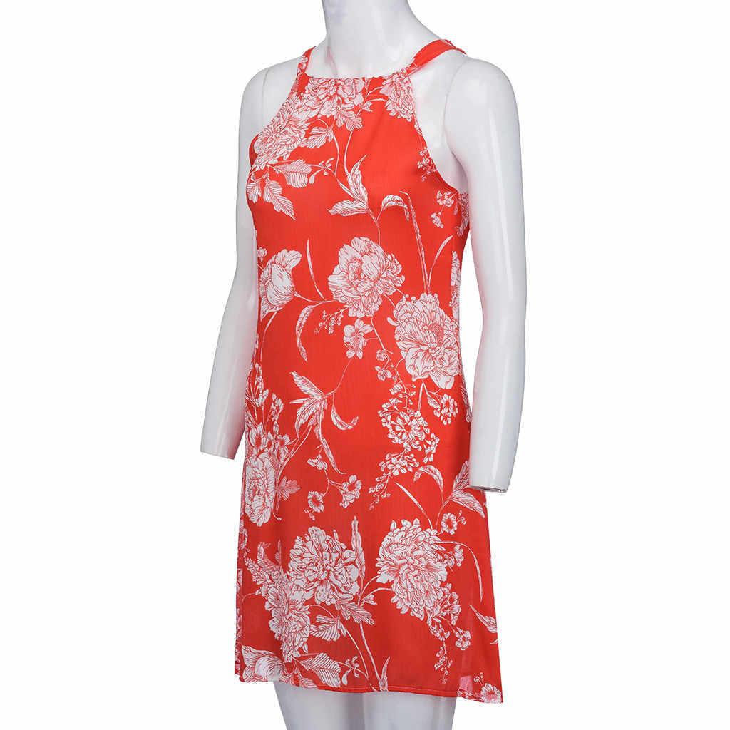 女性の夏の花印刷ミニドレスオフショルダーホルターショート Elbise セクシーなノースリーブビーチパーティークラブ Vestidos # BL5