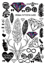Multi-style Fashion Cool Temporary Tattoo With Feathers And Diamond 21x15cm