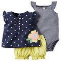 2016 baby girl roupas de verão, roupa de bebe menino infantil roupas 3 pcs define roupa das crianças roupa dos miúdos Colete macacão