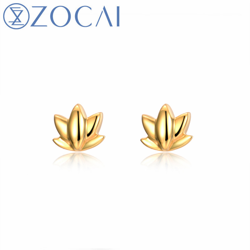 ZOCAI 18k Yellow Gold Fine Earrings Plant Flowers Shape Gift Earrings E01041 Free Shipping