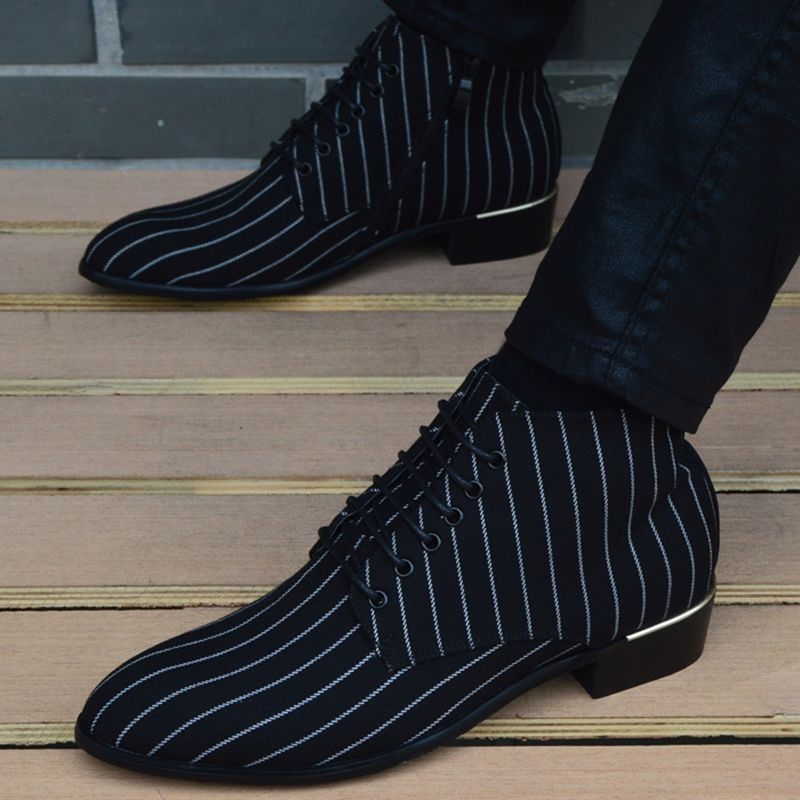 2018 New fashion Striped men Boots Men canvas Shoes Men Ankle Boots autumn Winter Oxford Shoes For Men Boots-in Basic Boots from Shoes    1