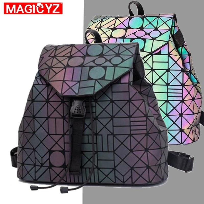 MAGICYZ Laser Geometric Luminous Women Backpack School Folding Student School Bags For Teenage Girl Large Capacity Sac A Dos A4