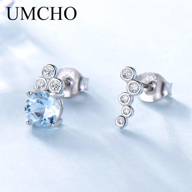 dbddcbea58b9 UMCHO натуральный голубой топаз 925 пробы серебряные серьги гвоздики для  женщин ...