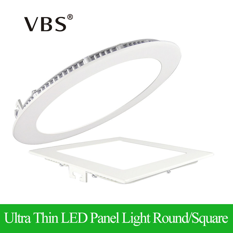 Ultra Thin LED Panel Downlight 3w/4w/6w/9w/12w/15w/18w Round/Square Ceiling Recessed Panel Light Warm/Cold white AC85-265V CE UL