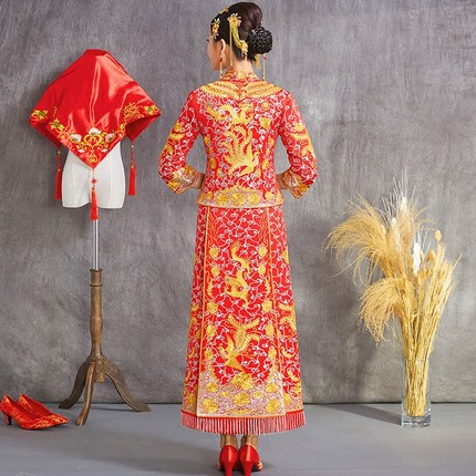 China Wedding Dragon gown bride wedding dress Oversea chinese style costume Phoenix cheongsam evening dress Unique show clothing in Cheongsams from Novelty Special Use