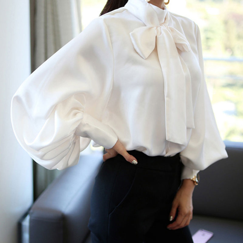Ladies Vintage Satin   shirt   women Lantern Sleeve   Shirt   Bow Tie Neck Loose Elegant   Blouse   Tops summer 2018   shirt   treroninae