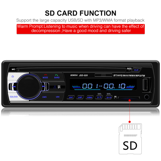 Radio Car Autoradio 1 Din Bluetooth SD MP3 Player Coche Radios Estereo Poste Para Auto Audio Stereo Carro Samochodowe Automotivo