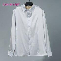 Mannen top Zware Zijden Shirts Lange Mouwen Zijde 285 g/ml Zijde Shirt Met Fluwelen En Verdikking big size