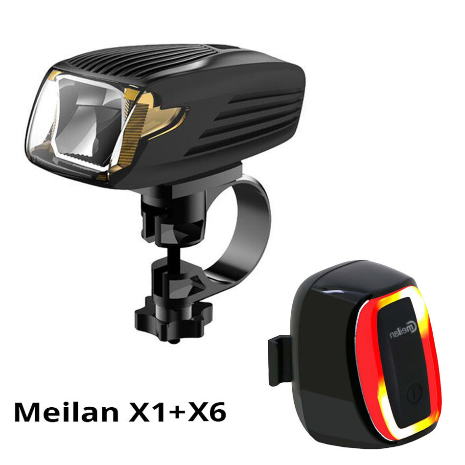 Meilan X1 Portable Lights Flashlight Bicycle Light Bike Led Front Light & Cmeilan X6 Tail Lamp 16 LED Smart Bike Led lights meilan x1 smart headlights bike light set meilan x5 lantern bicycle laser running lights turn signal safety wireless tail lamp