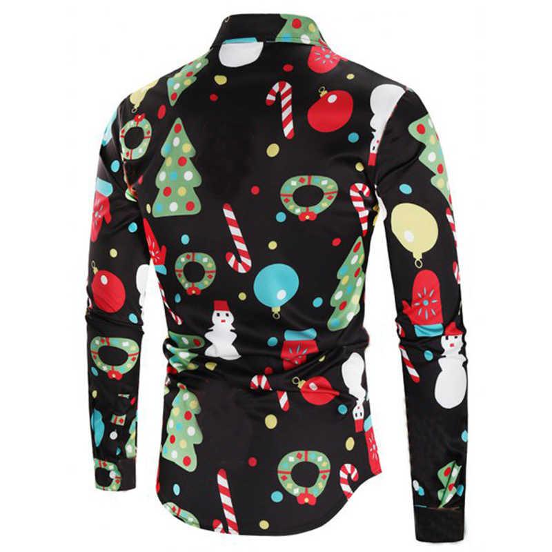 399e0f06434 ... Black Christmas Shirt Men 2018 Fashion Christmas Tree Candy Cane Print  Long Sleeve Shirt Male Casual ...