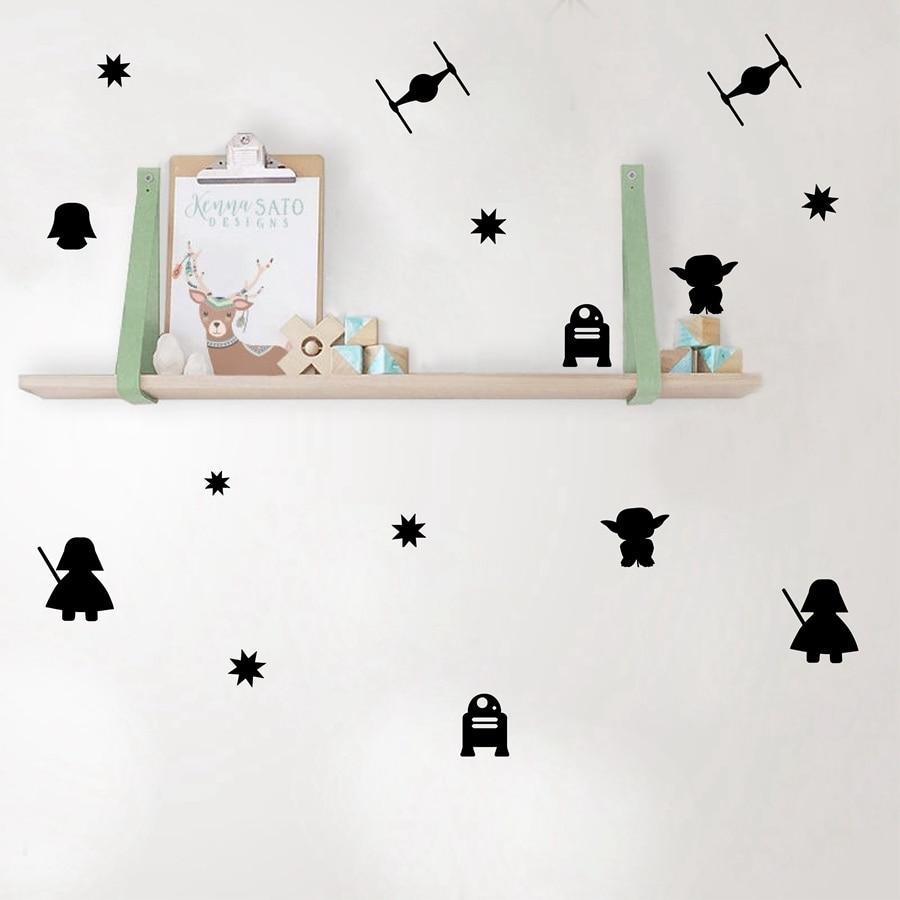 Cartoon Star Wars Vinyl Wall Stickers , Death Star Darth Vader Robot YODA Mural Art Vinyl Decal For Kids Room Decoration