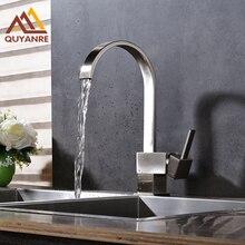 Матовый никель кухонный кран Водопад Носик Бортике горячей и холодной воды раковина кран