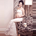 2016 NEW white Maternity lace dress Photography pregnancy women Props photo shoot Lace Voile Dress Maternity Gown Photography