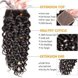 Image 4 - Water Wave Bundles With Closure Brazilian Hair Weave Bundle Sunlight Non Remy Lace Closure Human Hair 4 / 3 Bundles With Closure