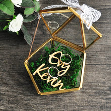 Personalized Pentagon Jewelry Box Ring Bearer Pillow, Rustic Wedding Ring Holder Box Proposal Engagement Gift(China)