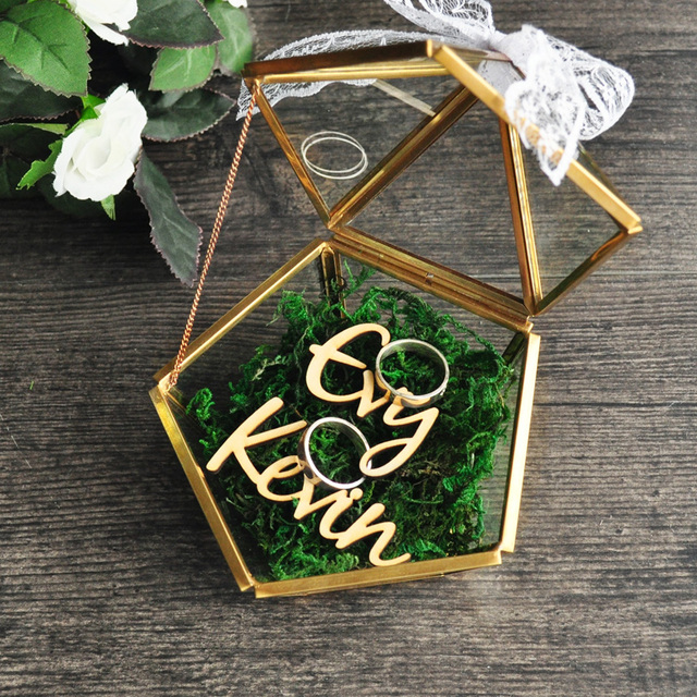 Personalized Pentagon Jewelry Box Ring Bearer Pillow Rustic Wedding Holder Proposal Engagement Gift