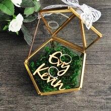 Spersonalizowane pudełko z biżuterią Pentagon poduszka na obrączki, rustykalny uchwyt pierścieniowy na ślub propozycja prezent zaręczynowy