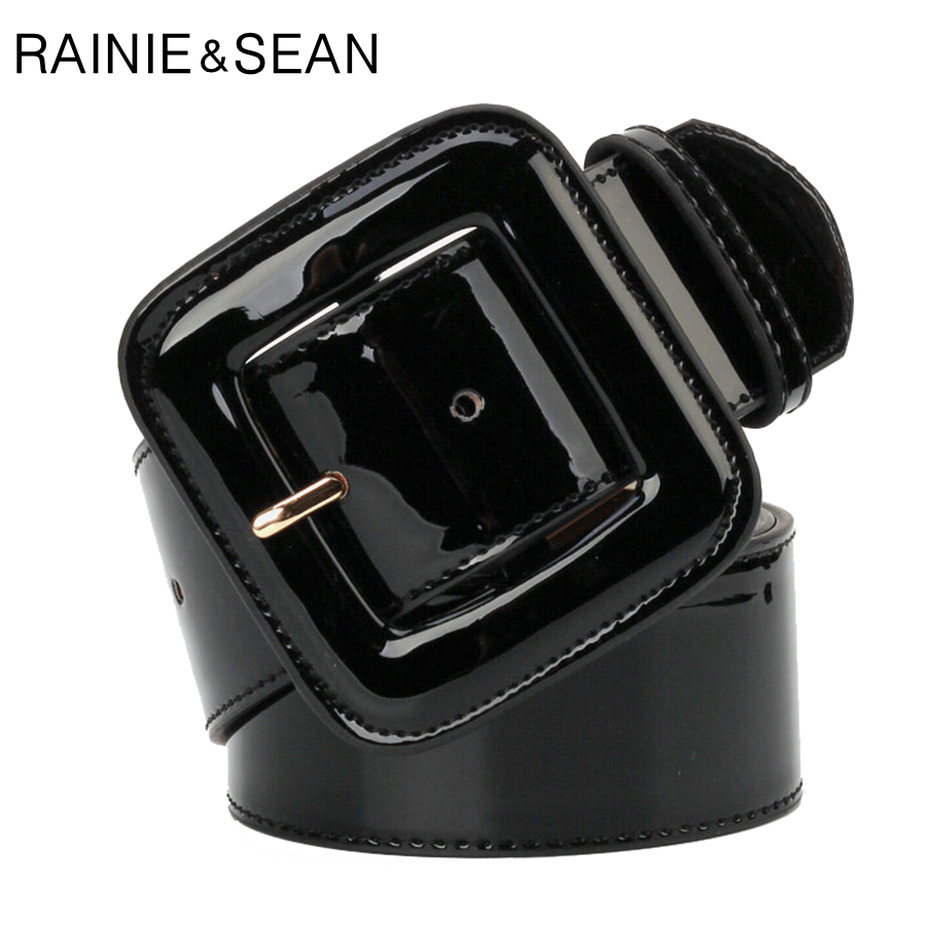 RAINIE SEAN Wide Belt Female Dress Belts Patent Leather Genuine Cowhide Black Elegant French Luxury Designer Women Waist Belt