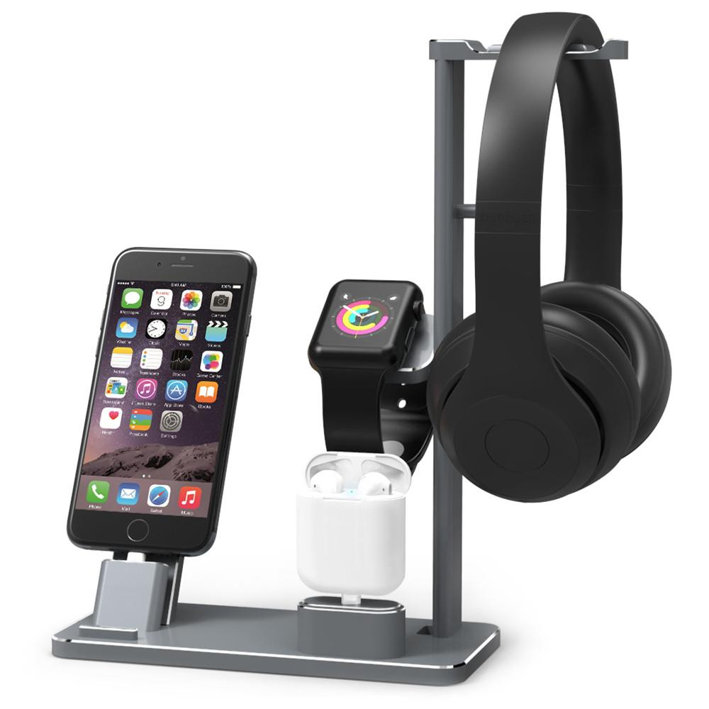 2018 Aluminium Headphone Stand Holder Charging Dock Charger Station Mount Base For Apple Watch Series 3 2 1 iPhone X 8 8 Plus