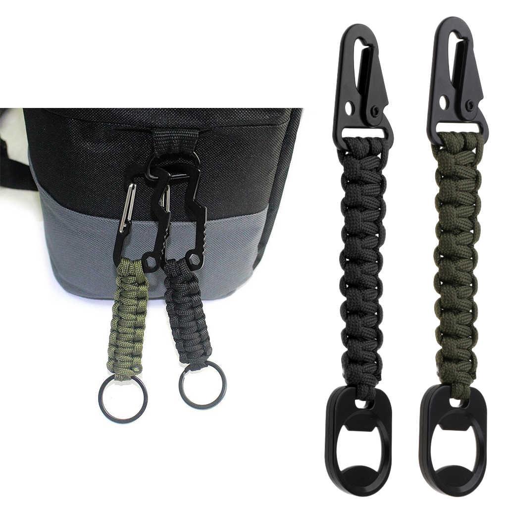 LLavero de supervivencia del mosquetón del Paracord duradero de 2 piezas para señoras niñas niños al aire libre senderismo caza de caza pesca 16,5x3 cm