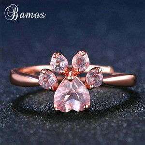 Bamos Lovely Cat Paw Finger Ring Rose Gold Color Adjustable Zircon Rings For Women Girls Best Birthday Gift Kawaii Jewelry